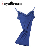 Women Lace Camis 70 Real Silk 30 Cotton Lace Camisoles Spandex Knits Soft Basic Shirt 2017