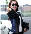 Autumn New Women Fashion Jacket High quality Knit Sleeve Leather Sleeve Cowboy Leather Short Coat Elegant Women Slim Coat G1832