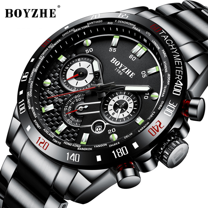 BOYZHE New Men Sport Automatic Mechanical Watch Waterproof Luxury Brand Stainless Steel Military Mens Watches Montre homme clockBOYZHE New Men Sport Automatic Mechanical Watch Waterproof Luxury Brand Stainless Steel Military Mens Watches Montre homme clock