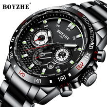 BOYZHE New Men Sport Automatic Mechanical Watch Waterproof Luxury Brand Stainless Steel Military Mens Watches Montre homme clock luxury carotif men s automatic mechanical watches montre homme waterproof steel stainless watch men dragon male clock relogio