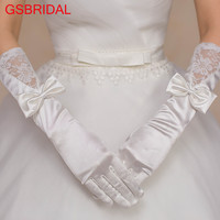 GSBRIDAL New Pattern Lace The Five Fingers Glove Satin Bow Long Gloves Bride Marry Glove Wedding