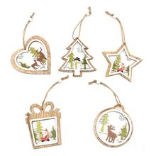 5pcs/set Christmas Tree Ornaments Hanging Xmas Openwork Wooden Bells Five-pointed Star Window Pendant Decoration