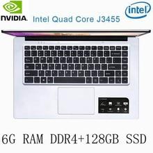 P2-24 6G RAM 128G SSD Intel Celeron J3455 NvIDIA GeForce 940M Gaming laptop keyboard and OS language available for choose