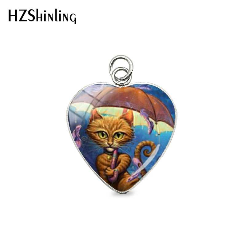 2019 Fashion Sweet Lovely Cats Paintings Style Heart Pendant Charms Love Pets Little Cats Kittens Jewelry Gifts for Girls