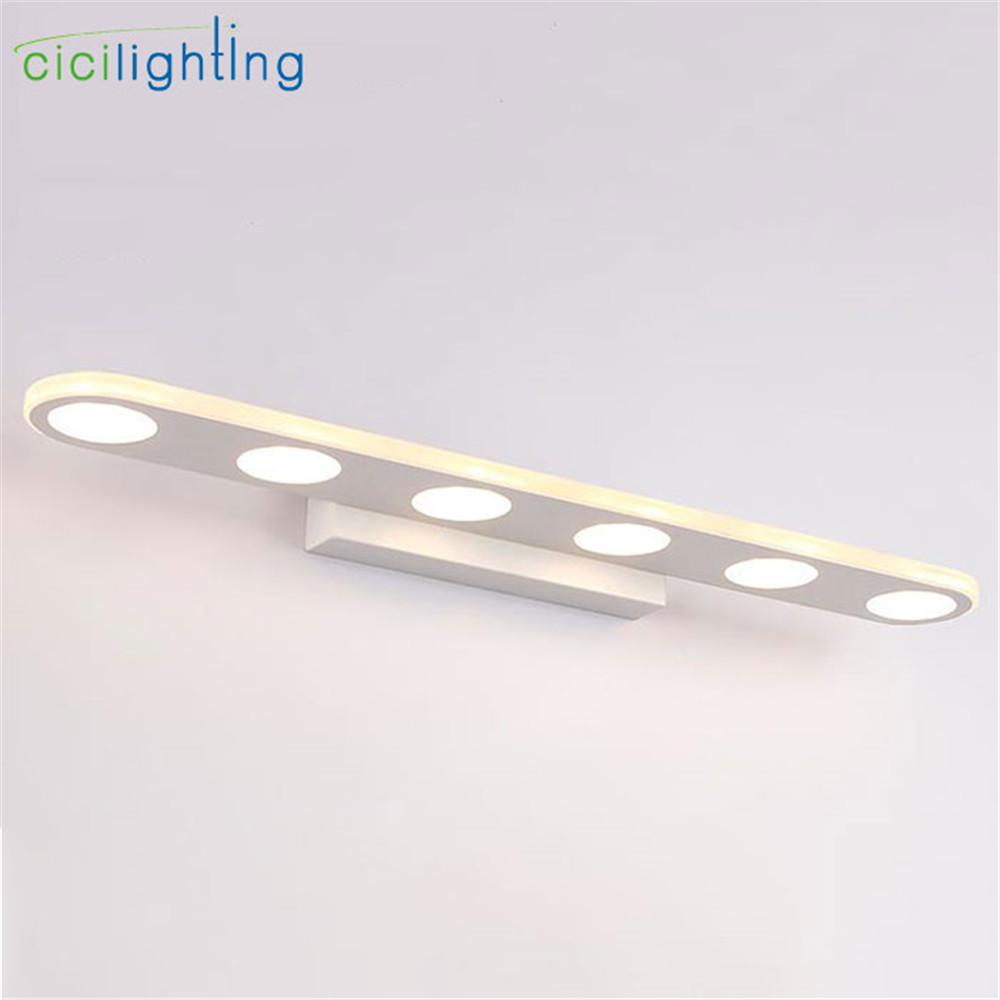 90V - 265V 18W 55cm led mirror lights lamp Modern white cabinet 6 lights LED Dress mirror bedroom bathroom lighting fixture 90v 265v 12w 37cm led mirror lights lamp modern white cabinet lights led dress mirror bedroom bathroom lighting fixture