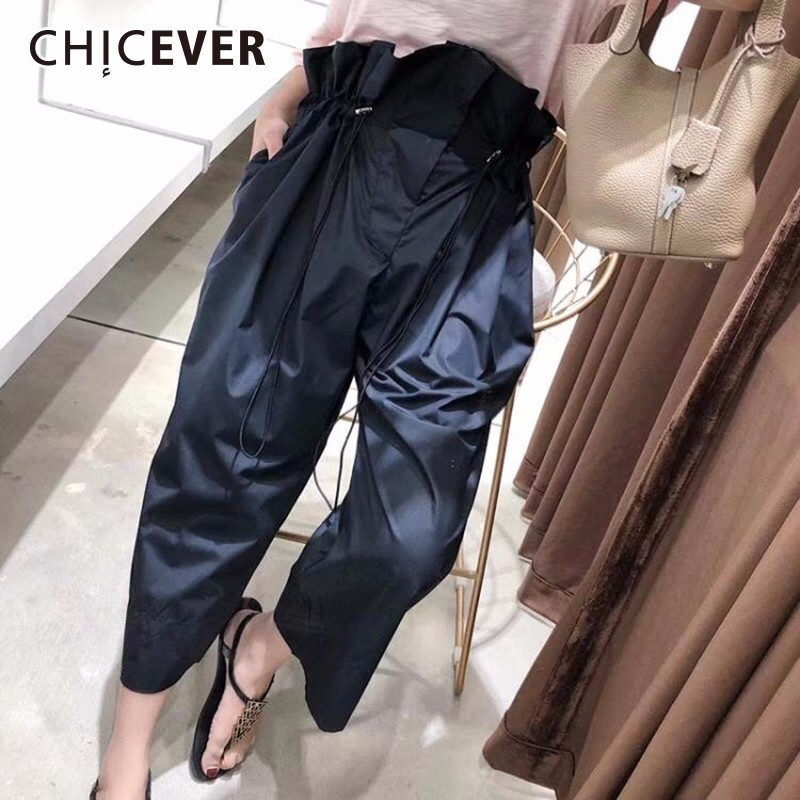 CHICEVER High Waist Trousers For Women Wide Leg Pants Fold Loose Big Size Summer Drawstring Ankle Length Pants Fashion Casual vgh high waist loose denim harem pants women black ankle length jeans pants big size female jean trousers casual clothing