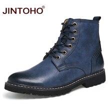 JINTOHO עור גברים חורף נעלי אופנה גברים חורף מגפי מחודדת הבוהן אמצע עגל מגפי גברים זכר עור מגפיים