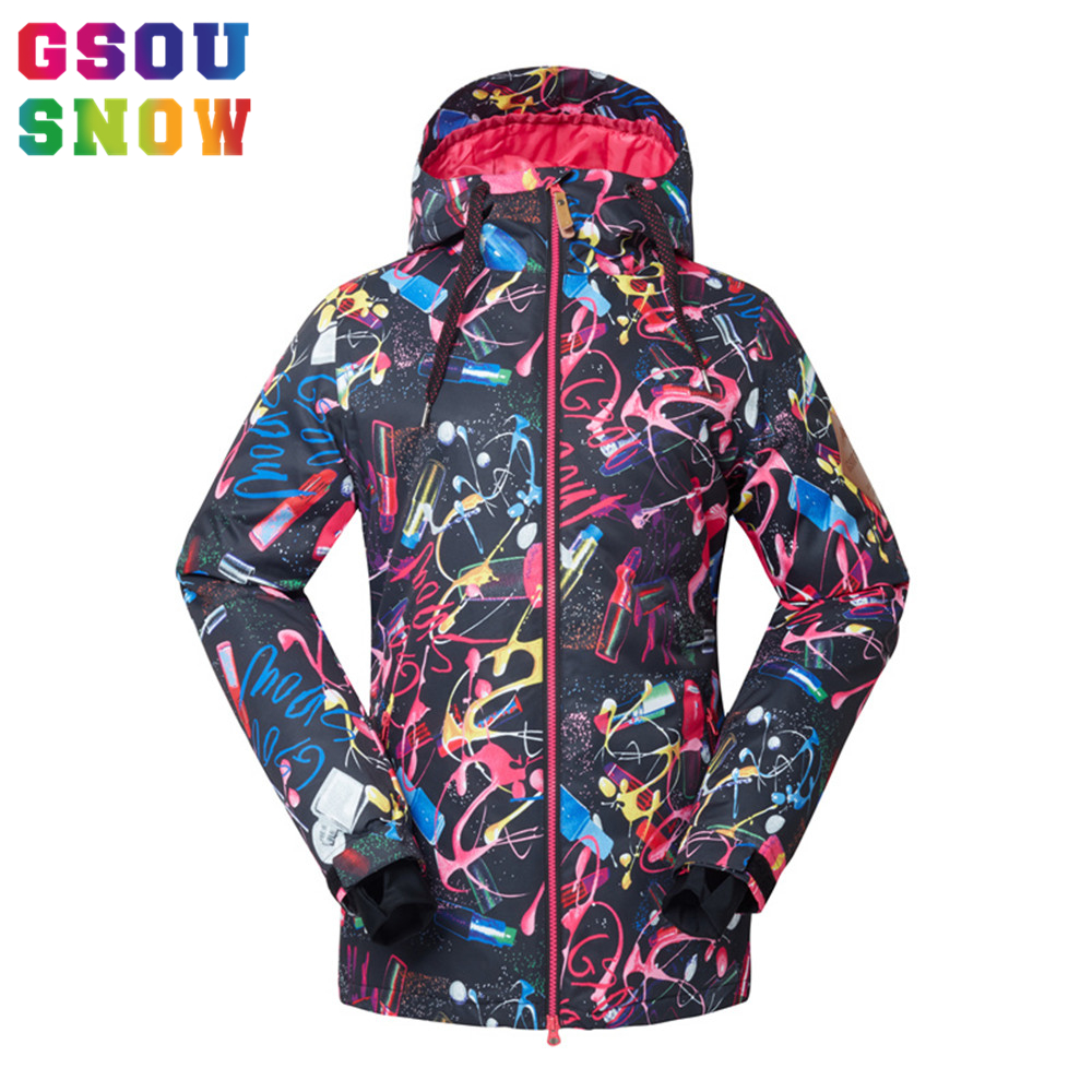 2016 Gsou Snow Skiing Jacket Women Waterproof Winter Ski Jacket Breathable Warmth Snowboarding Jackets Female Cheap Ski Clothing gsou snow waterproof ski jacket women snowboard jacket winter cheap ski suit outdoor skiing snowboarding camping sport clothing