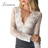 Lemon Lace Women Solid White Lace Blouse Transparent Mesh Emlroidery V Neck Cut Out Shirt Crochet