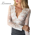 Lemon Lace Women Solid White Lace Blouse Transparent Mesh Emlroidery V-Neck Cut Out Shirt Crochet Sexy Plunge Neck Blouse Shirt