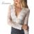 Lemon emlroidery rendas mulheres sólida blusa de renda branca de malha transparente com decote em v cortar camisa de crochê sexy plunge pescoço camisa blusa
