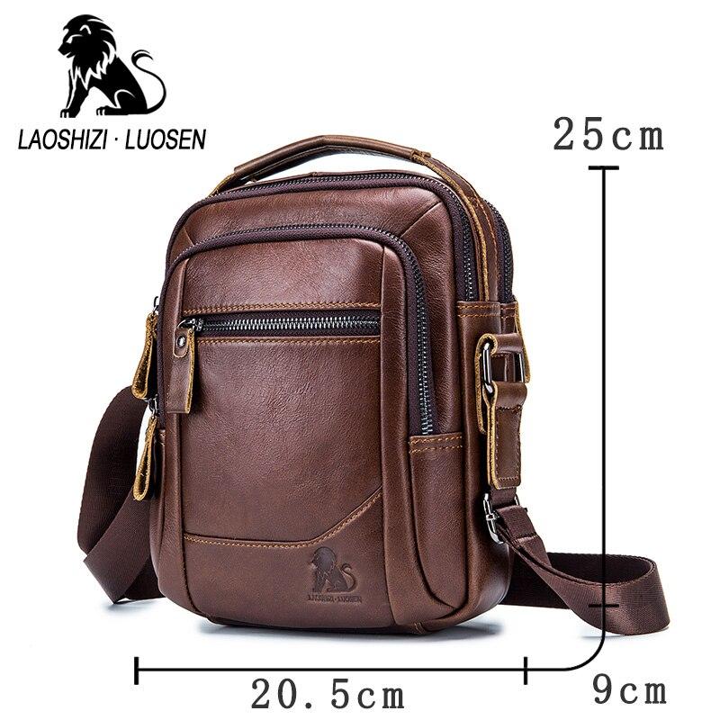 Image 3 - LAOSHIZI LUOSEN メンズバッグ本革ショルダーバッグ拳層牛革カジュアルビジネス男性高級ブランド Bag91314    グループ上の スーツケース