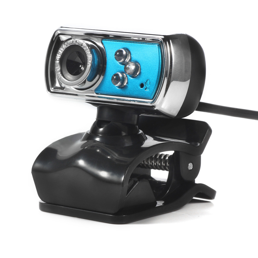 USB Webcam HD Web Camera 12M Chip and Lens Clarity 3 LED USB Webcam Camera with Mic & Night Vision for PC Laptop Blue