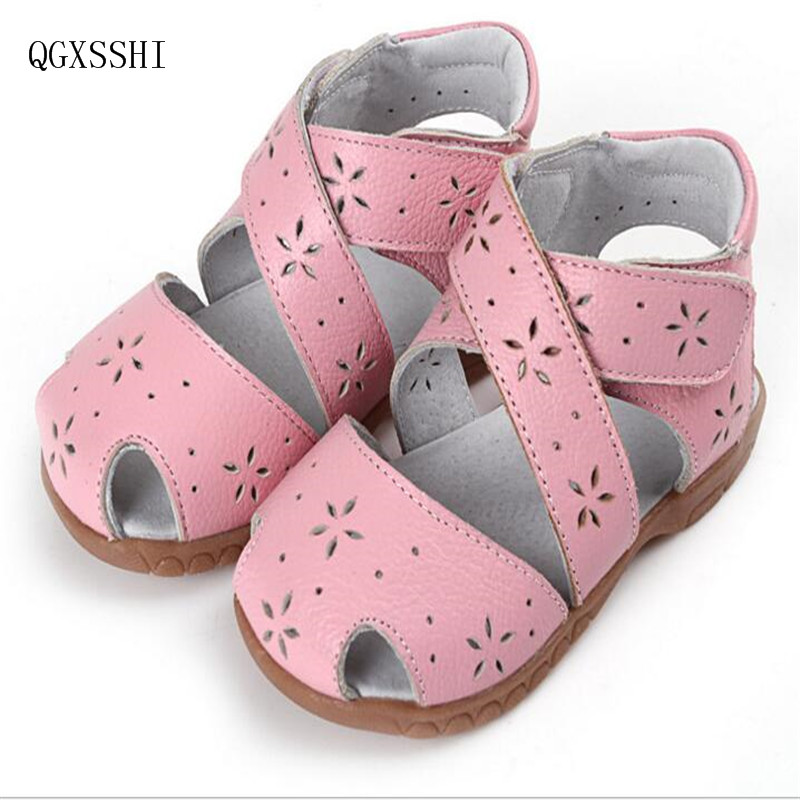 QGXSSHI Genuine Leather Children Shoes Girls Boys Shoes Sandals Summer Closed Toe Sandals for Kids Babys Beach Sandals