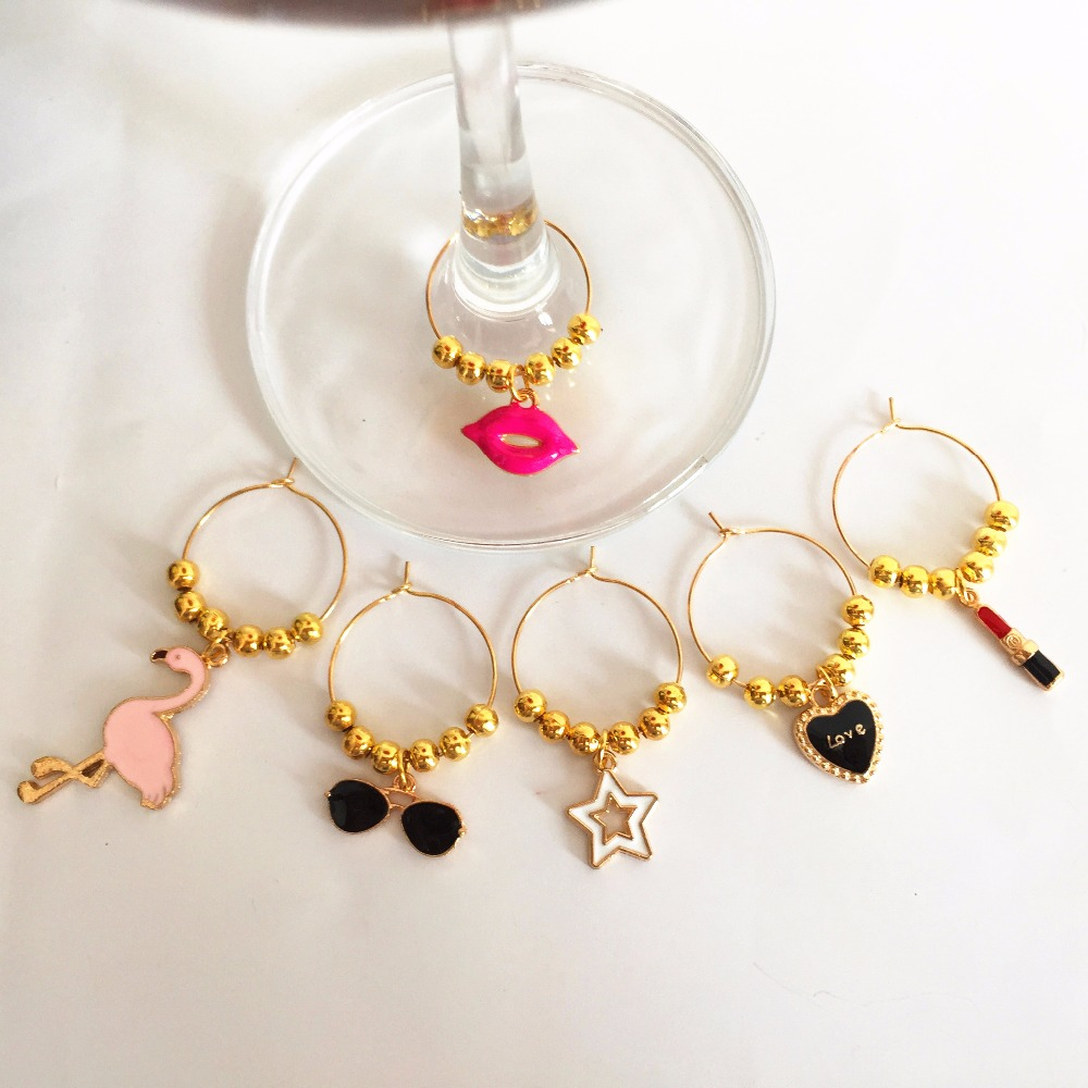 Wine Charms New Fashion Design 6pcs Wine Glass Charms Rings Marker Christmas Party Bar Table Decorations Christmas Gift Other Bar Accessories Aliexpress