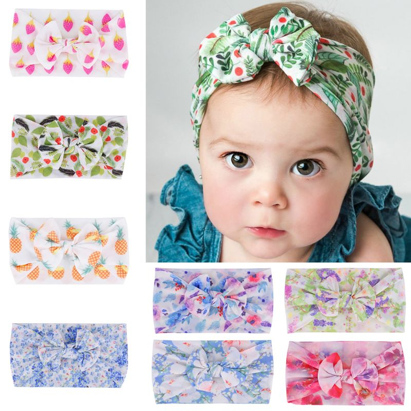 New Floral Seamless Print Baby Hair Band Children Hair Accessories Infants Bow Wide-brimmed Headdress(China)