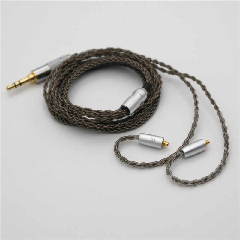 Wysokiej klasy 8 nici z pojedynczego kryształu miedzi posrebrzanych MMCX słuchawki drutu kabel do Shure SE215 SE315 SE425 SE535 SE846 UE900