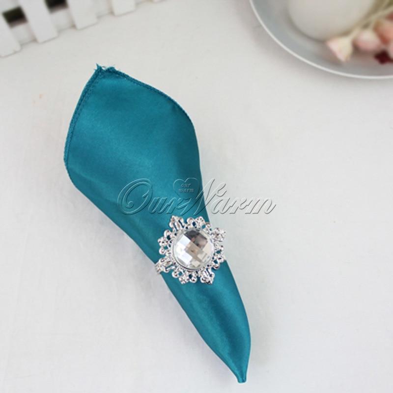 10pcs/lot 30cm X 30cm Teal Blue Square Satin Napkin Diner Handkerchief Hanky For Wedding Party Restaurant Table Decoration