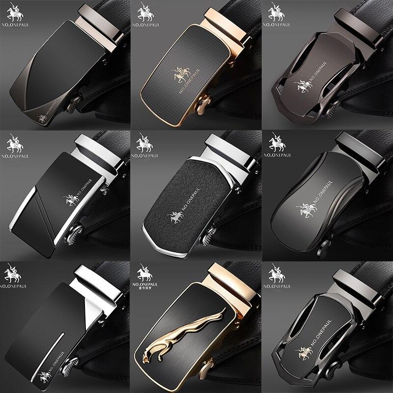 NO.ONEPAUL Luxury brand Male Genuine Leather Strap Belts For Men Top Quality Belt Automatic Buckle black Belts Cummerbunds