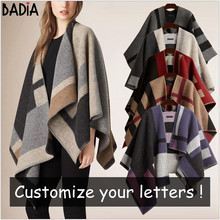 Winter Brand Women Blanket Poncho Coat Top Cashmere Wool Scarf Plaid Monogram Poncho Cape Color Block Check Blanket Wraps Stole(China)
