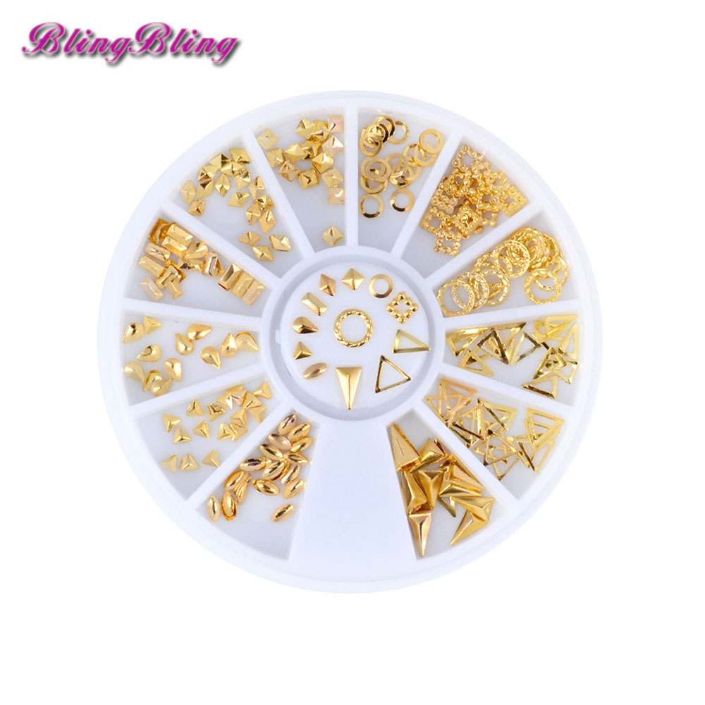 12 style Nail Art Decorations Rhinestones 3D Triangle Mixed Design Gold Metal Slice Wheel Nail Art Tips Sticker Decals 10pcs gold 3d rudder metal flower pearl music note mixed rhinestones cross nail art decoration jewelry nails supplies y180 187