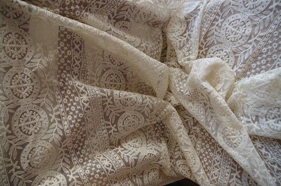 Кружевная ткань цвета слоновой кости, вышитая кружевная ткань из тюля, винтажная кружевная ткань с круглыми узорами, 1 ярд
