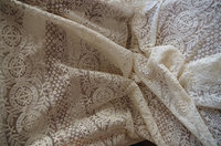 ivory Lace fabric, Embroidered tulle lace fabric, vintage lace fabric with round patterns 1yard