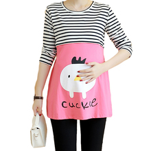2016 tops quality Maternity  Nursing Pregnancy  Cute Baby Printed Clothes For Pregnant Women striped dress summer autumn