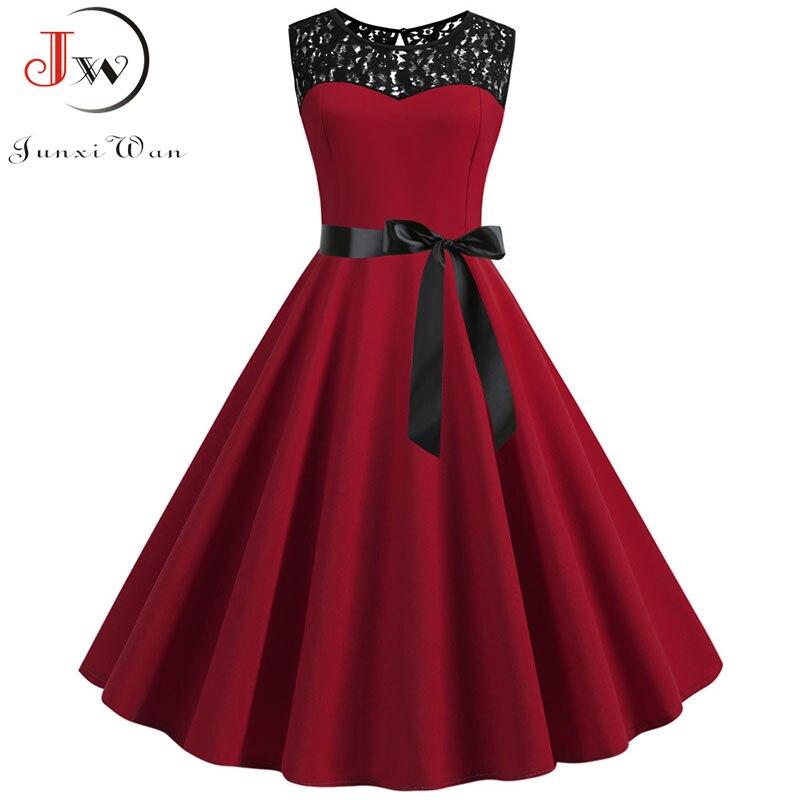 Summer Lace Dress Robe Femme Women 2020 Elegant Vintage Party Dress Casual Office Ladies Work A Line Midi Dress Plus Size 4