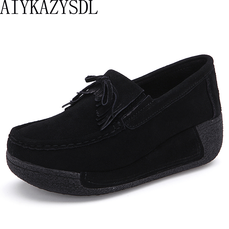 Frange black Up Creepers 2018 blue Autumen Chaussures Red Daim Véritable black blue Up Lace Plate Occasionnels gray Compensé pink Appartements Aiykazysdl Mocassins Femmes Talon Up red En yelllow Up gray Up Cuir forme Gland brown PHqwaaFx