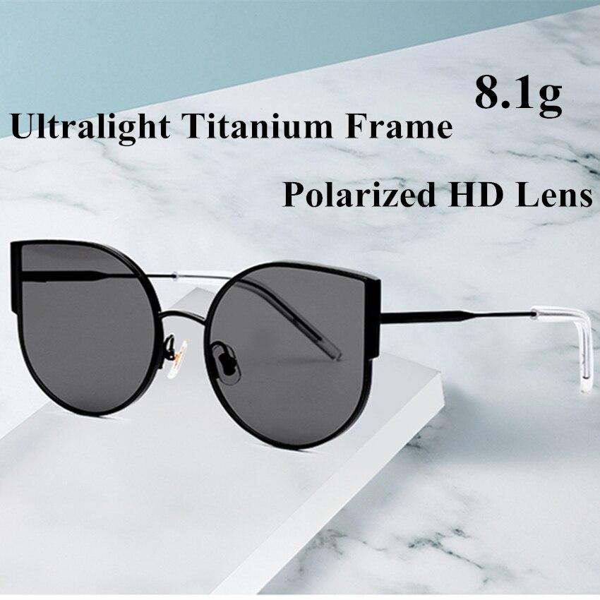 2019 New Fashional Pure Titanium Ultralight Cat Eye Polarized Sunglasses Women All Fit Mirror Sun Glasses