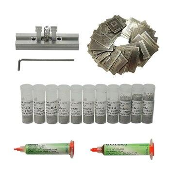 цена на 110 pcs bga station solder ball flux tweezer BGA Reballing Stencil for Mobile Phone Reballing Repair directly heating fixtures