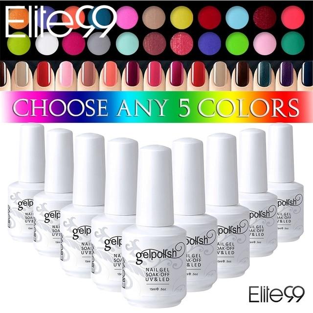 Elite99 gel cualquier 5 Botellas brillo Esmaltes de uñas curado ...