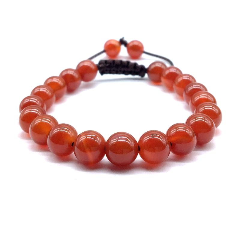 stone bead bracelet 8 mm elastic carnelian bangle