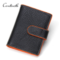 CONTACT'S Genuine Leather Business Card Credit Card Holder Case Wallet Cover For Women Protector Ladies Men Pack Bag Hasp