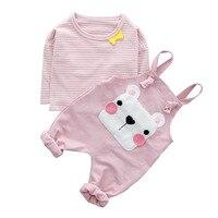 2018 Newborn Boy Clothing Sets Bear Braces Pants Top Quality Cotton Spring Kids 2Pcs For Baby