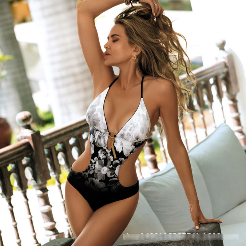 295b178921 Sexy swimwear women Swimsuit Fused Female floral swim body suits halter bathing  suit high cut Swimsuit