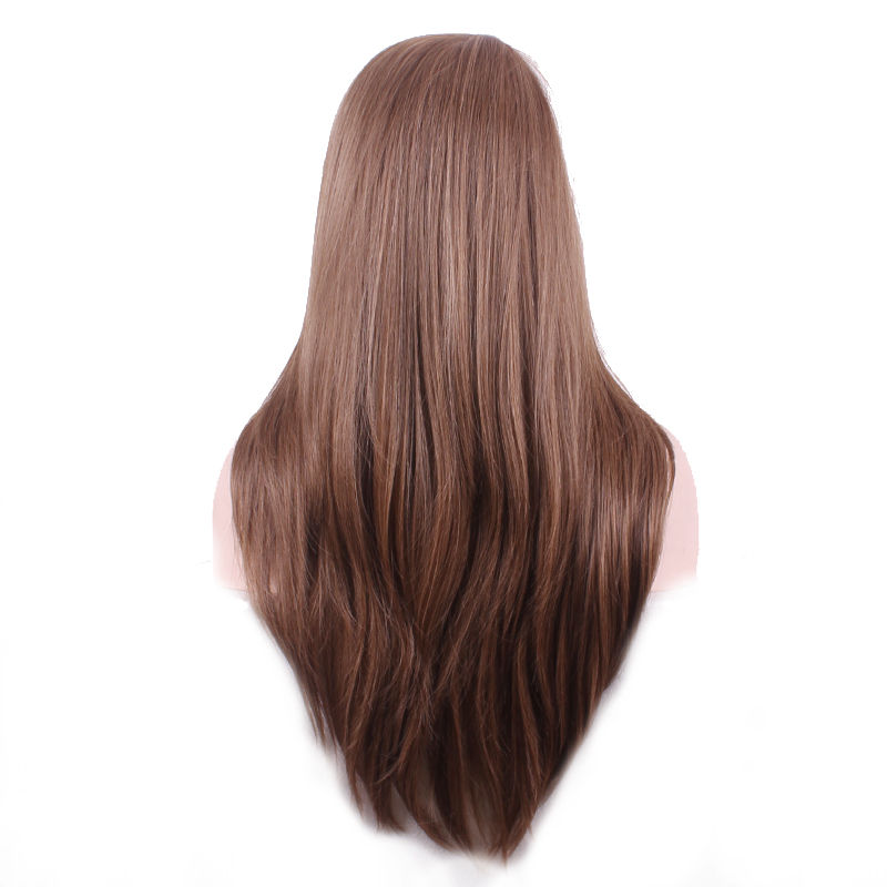 WoodFestival Heat Resistant Mix Color Brown Synthetic Wig Long Straight Cosplay Wigs for Women in Synthetic None Lace Wigs from Hair Extensions Wigs