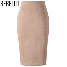 2017 Winter Office Sexy Ladies Suede Pencil Skirts High Waist Midi Womens Bodycon Sexy Pink Gray Big Size XXL Jupe Femme S0807