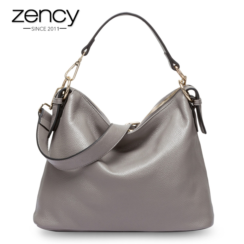 Zency Fashion Grey Women Shoulder Bag 100% Genuine Leather Handbag New Style Female Messenger Crossbody Purse Lady Casual Tote whx new style casual fashion women tote bag crossbody bag female shoulder messenger bag leather cartoon cat bear sequin handbag