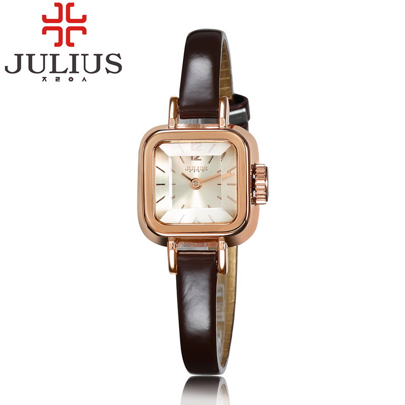 2017 JULIUS Mini Square Ladies Watch Leather Strap Luxury Gold Women Watches Female Bracelet Clock Relogio Feminino Montre Femme guou top brand women s watches bracelet ladies watch calendar saat square dial leather strap clock women montre relogio feminino
