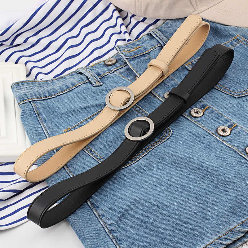 Casual Riemen Voor Vrouwen Mode Pu Lederen Riemen Vintage Stijl Ronde Gesp Wit Zwart Riem Voor Broek Jeans 105 M 2019 Hot Koop