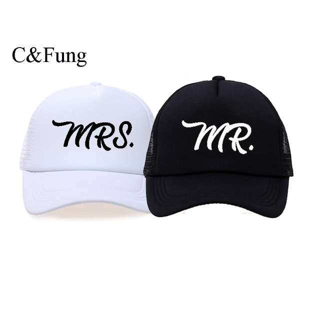 32fcc1c5e1433 C Fung design Personalized trucker hats Mr.   Mrs. Baseball Cap bride and  groom engagement gift idea honeymoon hats