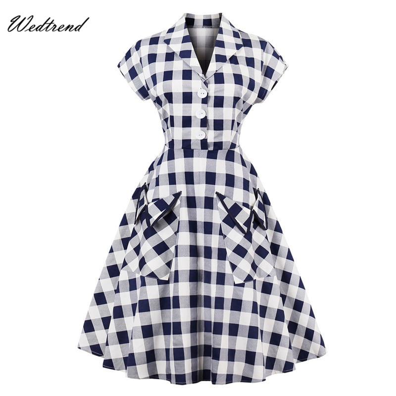 Wedtrend V-Neck Plaid Knee-Length Vintage Dresses Audrey Hepburn Style 1950s 1960s Lady Dresses Elegant Retro Dress With Pockets