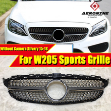 Fits For MercedesMB W205 C Class grille C63AMG Diamonds Front Grille Sports ABS Silver without Camera sign 2015-18