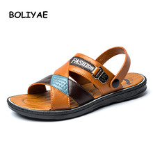 Fashion new PU Leather Slippers Men Beach Flip Flops Breathable Flip-Flops For Men Summer Shoes Causal Sandals Male Slippers стоимость