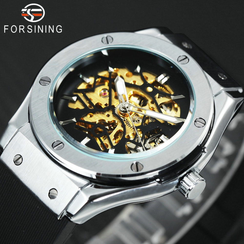 WINNER Heren Militaire Horloges 2018 Fashion Auto Mechanisch Polshorloge Rubber Strap Skelet Roestvrijstalen Case reloj hombre + BOX