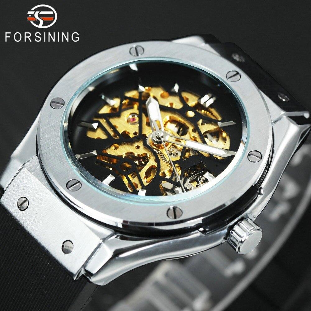 WINNER Men Military Watches 2018 Fashion Auto font b Mechanical b font Wristwatch Rubber Strap Skeleton