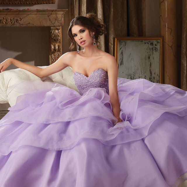 d5d5000b16b New Arrival Light Purple Quinceanera Dresses With Crystal Beaded Organza  Sweet 16 Ball Gowns Ruffles Cheap Quinceanera Gowns