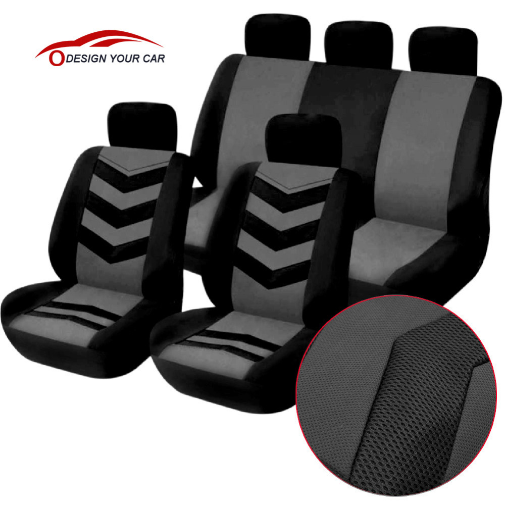 T22552gr car style seat cover 9 pcs seat covers front seat back seat headrest cover mesh